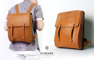 SCHEMER/ 8378牛皮製淺咖啡色皮革後背包 焦糖色真皮後背包 復古書包 13吋筆電後背包
