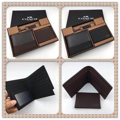 DanDan代購 美國正品 COACH 74634 黑色 咖啡色 配禮品盒鑰匙圈 休閒時尚男士壓紋皮夾 短夾名片夾 附代