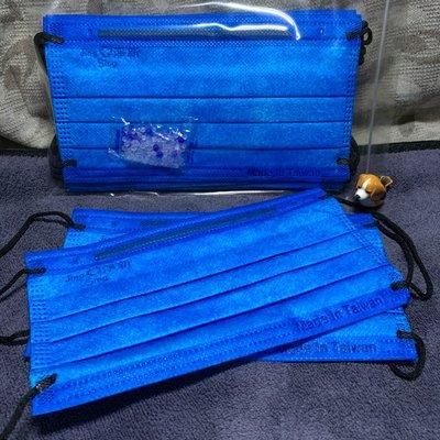 現貨淨新🌈蔚藍+黑耳繩🌈成人平面口罩(10入)