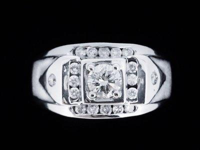 天然鑽石  豪華設計款鑲鑽男戒 0.3...