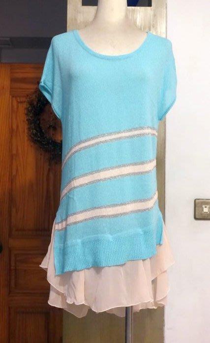 [C.M.平價精品館]均碼現貨最後一件出清特價/設計師精品專櫃/一衣多穿百變女王不規則可卸荷葉衣襬好看藍色針織上衣/洋裝