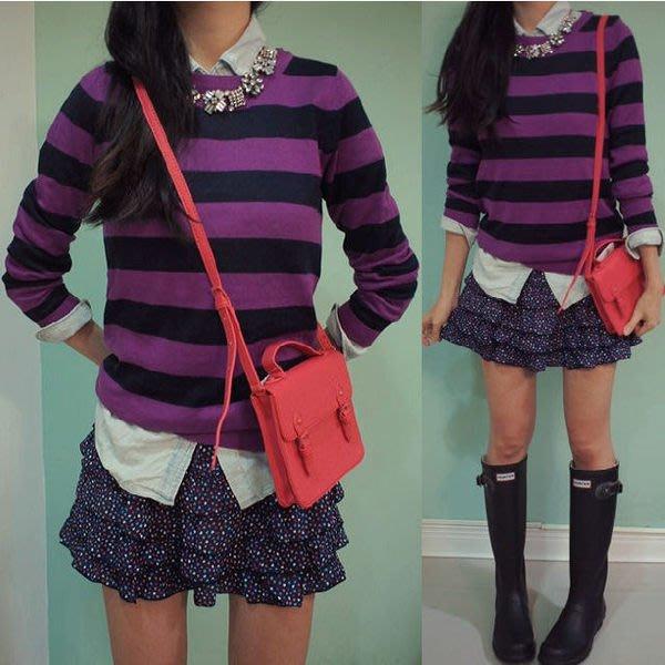 休閒品牌 FOREVER 21 女生款棉質橫條長袖針織上衣 ( 新款上市.特價出售 )