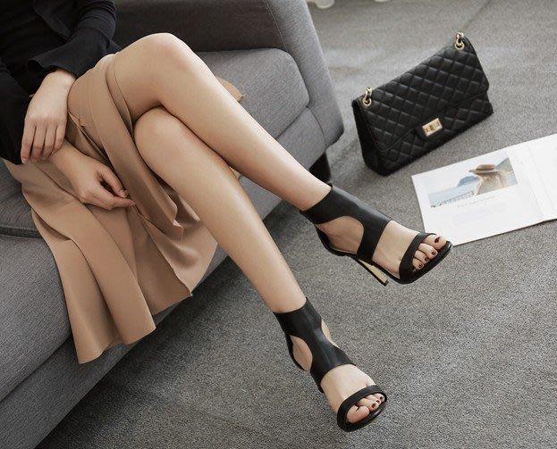 黑37+38+39+40現貨,其他預購/峰999-7*外貿速賣通爆款羊紋鏤空羅馬鞋性感時尚高跟涼鞋