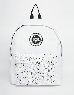 【T4H】Hype Speckle Pocket Backpack 白色 潑漆 黑點 半版 素面 休閒 後背包【現貨】