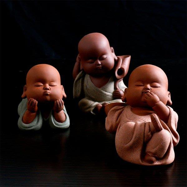5Cgo【茗道】含稅會員有優惠 520481371937 精品紫砂茶寵擺件茶盤擺件彩砂陶可愛人物小和尚天真爛漫無邪 3個