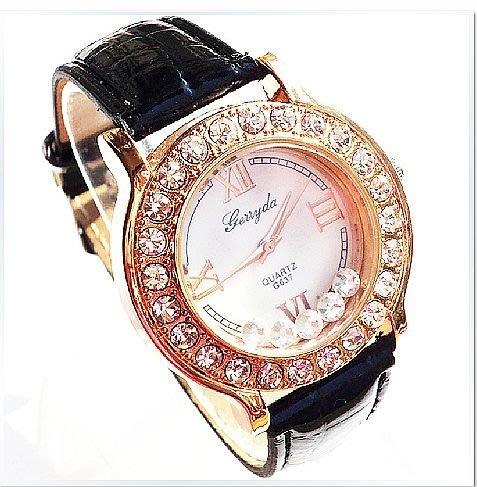 【Asiahito】閃亮流沙女表 簡約經典時尚女士手表 商務休閑百搭皮帶表批發637