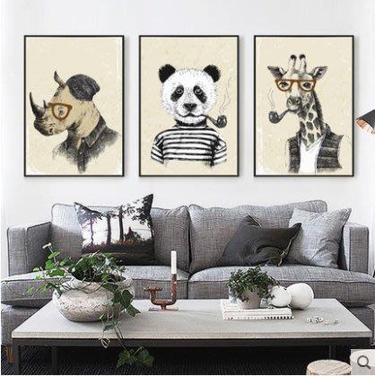 『格倫雅』紳士們 現代簡約畫客廳裝飾畫壁畫沙發背景墻墻畫卡通動物掛畫^11719