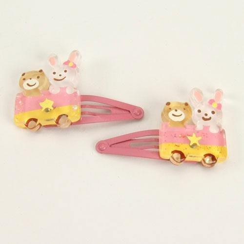 日本製 粉白兔熊車子髮夾