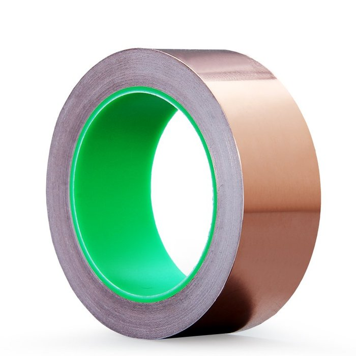 小花精品店-雙導純銅銅箔膠帶 導電散熱膠帶屏蔽膠帶 單層厚度0.06MM導電布單面膠帶信號加強雙面導電銅箔膠帶