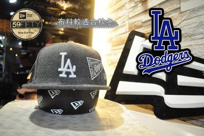 特價 New Era x LA Dodgers Grey 59fifty 洛杉磯道奇隊灰色秋冬布料全封尺寸帽