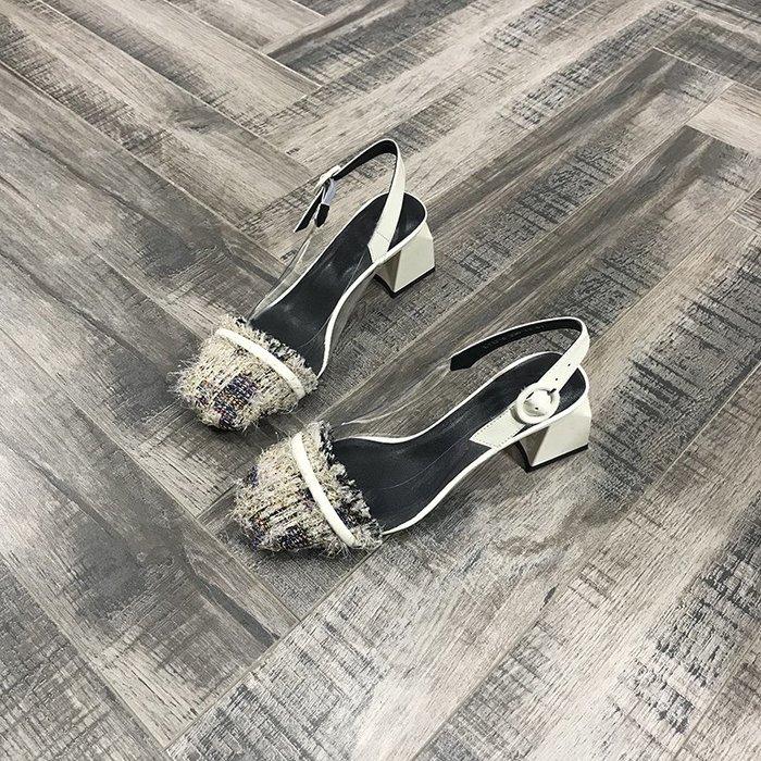 創意夏季女鞋歐洲風格站夏季新款女鞋圓頭一字扣淺口氣質百搭單鞋高跟鞋潮
