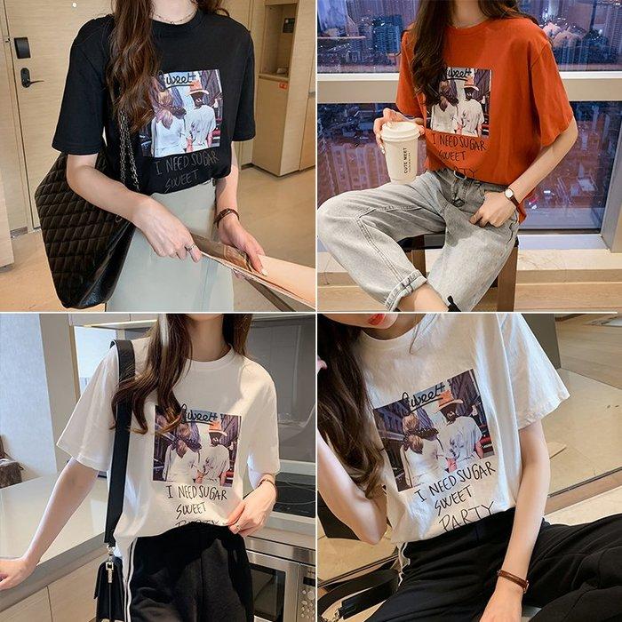 ❤Princess x Shop❤印花圓領短袖寬鬆T恤DL19040627正韓國連線吊帶褲蕾絲一字領露肩