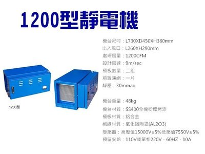 【GO GO GO 餐飲設備】1200型靜電機/油煙處理機