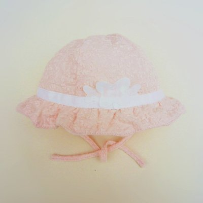 ~睫衣 ~ 價~夏款女寶寶 品牌綿款粉紅蕾絲盆帽 遮陽帽 棉帽 帽子  42~46cm