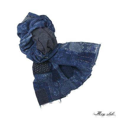 MONUMENT買取店 - Vintage 1820's 老布 Indigo Boro&Katazome 藍染 圍巾
