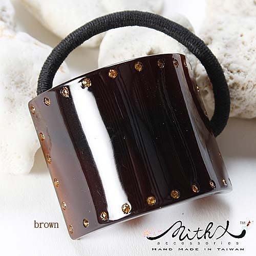 【MITHX】簡單時尚,環繞鑲鑽,方髮束,髮圈-琥珀