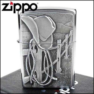 ☆哈洛德小舖☆全新【ZIPPO】美系~Resting Cowboy-休息的牛仔圖案貼飾打火機NO.24879