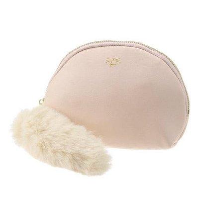 Verna&Co{現貨}日本進口雜貨粉紅色貓咪貝型皮革絨毛尾巴收納包化妝包萬用包