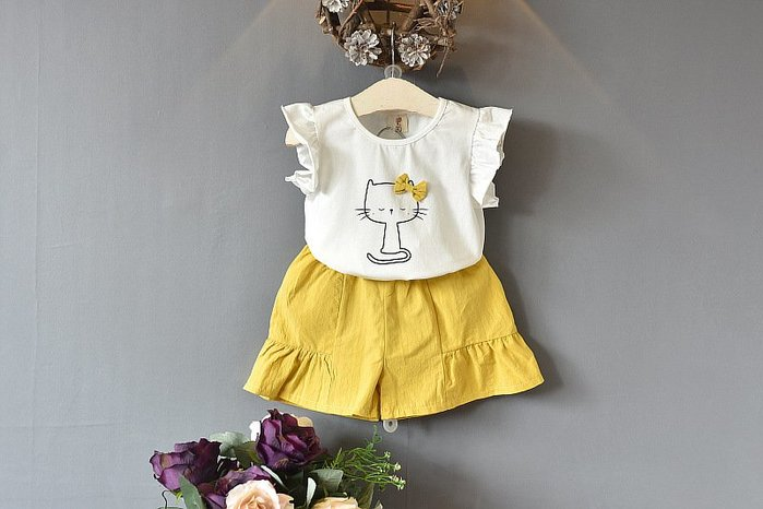 【溜。溜。選物】春夏新款*1+1兒童荷葉邊貓咪上衣+短褲套裝兩件組