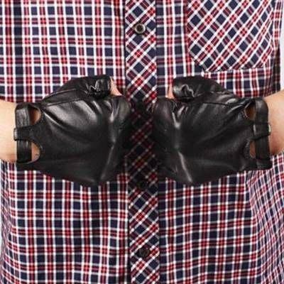 半指手套 真皮手套-羊皮紳士休閒機車駕駛男性時尚配件72g25[獨家進口][巴黎精品]