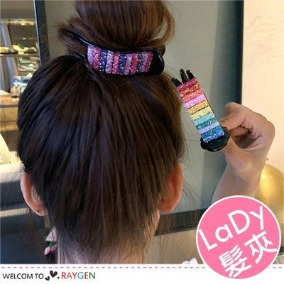 八號倉庫 韓式女孩彩紅糖造型髮夾 丸子頭盤髮抓夾 髮飾 2色/組【1F202M769】
