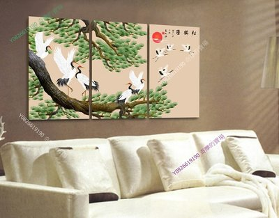 【厚0.9cm】【50*70cm】客廳臥室無框畫松鶴圖現代裝飾壁x-313【220110_0439】3聯畫