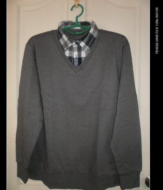 全新◎尺寸 :XL◎棉+聚酯纖維 ◎ NET男士休閒假兩件長袖襯衫/上衣