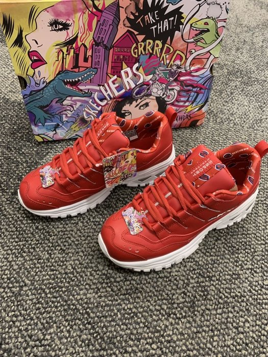 安安精品保證正品SKECHERS Energy-Retro Vision13425 RED複古運動鞋波浪形邊緣皮革鞋面