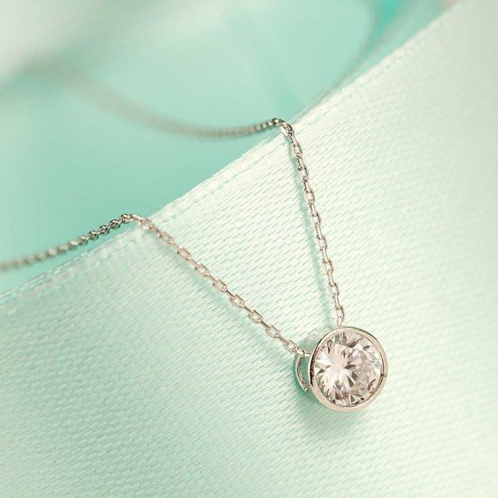 韓國Baby~s925純銀通體銀鑲嵌鋯石項鍊女日韓版短款鎖骨吊墜銀飾免運
