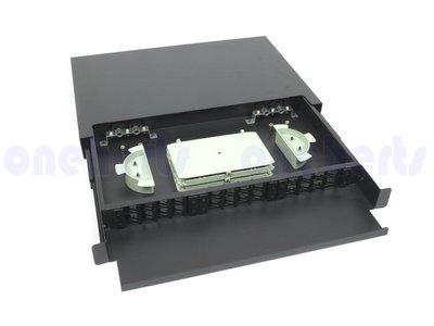 現貨 外銷版 19英吋抽拉式光纖終端盒通盒24口24路 支援 SC LC ST FC耦合器 機櫃式 工作站 光纖伺服器