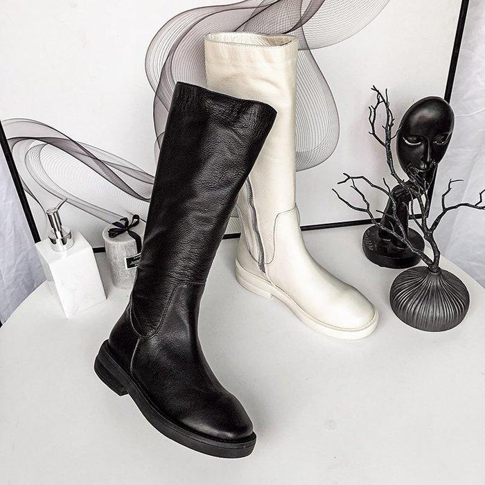 ~Linda~女鞋2018秋冬新款真皮歐貨不過膝側拉鍊低跟防水台高筒長靴