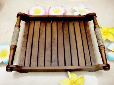 Y【永晴峇里島】巴里島風繫繩原木大托盤,居家,民宿,飯店都好用-托盤10@