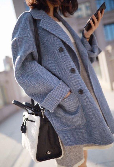 【鳳眼夫人】獨立設計品牌訂製款 2色 重磅推薦 復古休閒寬鬆雙排扣格紋雙面羊絨羊毛大衣 100%羊毛混花毛呢大衣西裝外套