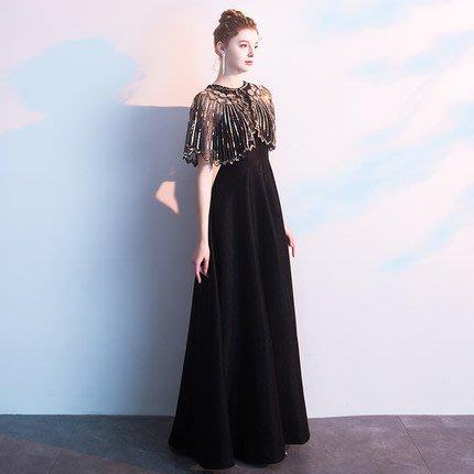 妞妞 婚紗禮服~披肩黑色繞頸性感婚紗宴會婚纱長禮服~3件免郵