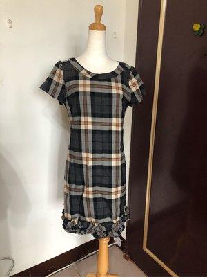 CLEAR  IMPRESSION專櫃品牌毛料格子短袖洋装3號(二手)