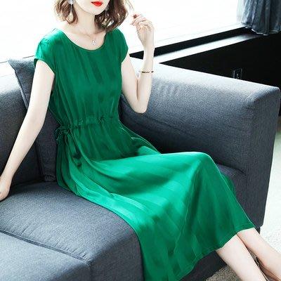 [C.M.平價精品館]S~3XL隨興舒適鬆緊腰圍好看綠色短袖長長版洋裝