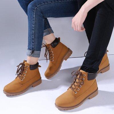 【超高CP值】工裝鞋靴子代發情侶款馬丁靴男靴boots2018皮靴PU女大頭鞋大黃鞋短歐美