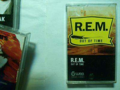 美國的另類搖滾之聲 REM 第7張專輯 1991年主流公司發行 Out of Time 卡帶錄音帶。封面蓋飛碟淺鋼印