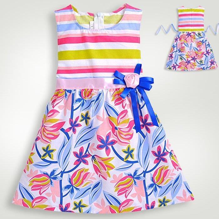 夏日《彩虹花朵款》甜美小洋裝 @ 90-140cm(K3-4)