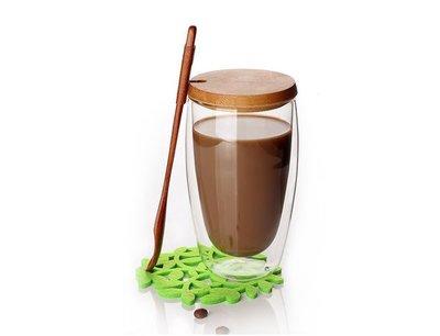 【日皇】蛋形雙層玻璃杯 雙層杯 雙層咖啡果汁杯 真空保溫杯 保溫隔熱杯 楠木攪拌勺 湯匙