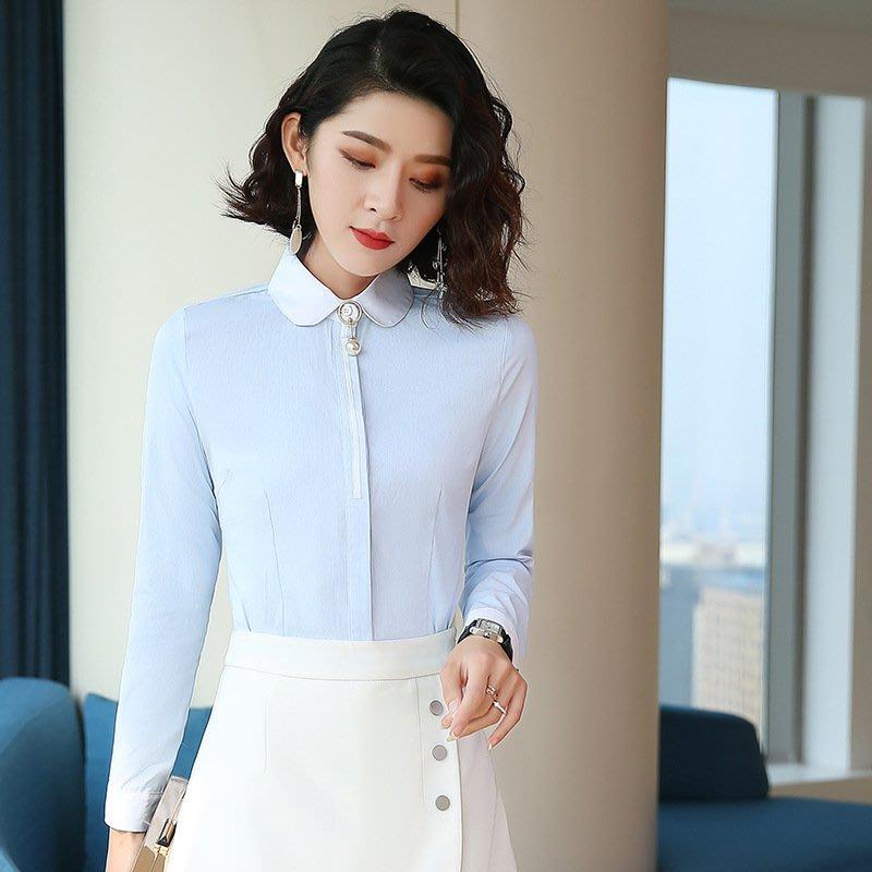 新款長袖OL百搭職業裝女士娃娃領拼接襯衫修身顯瘦商務白領工作服YC16