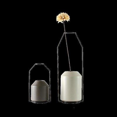 精選 陶瓷鐵藝花瓶擺件 現代北歐新中式簡約干花插 客廳餐廳創意工藝品