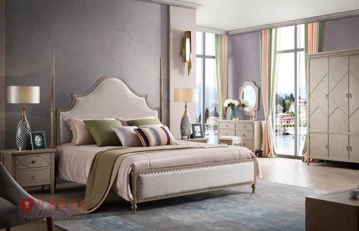 [紅蘋果傢俱] YWG803 歐式輕奢唯美 布床 歐式皮床 新古典床台 黃銅五金床架 美式雙人床