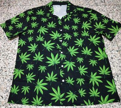 歐美 大麻葉 WEED 短袖 襯衫 寬鬆 嘻哈 饒舌 尺寸:S-XL