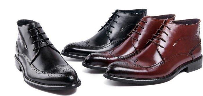 新款英倫牛皮商務正裝皮靴 系帶尖頭短筒靴 真皮男鞋雕花布洛克鞋