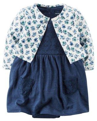 【USA美國精品時尚小舖】Carter's 卡特 Carters 女寶寶 小外套+碎花短袖連身洋裝套裝組 台北市