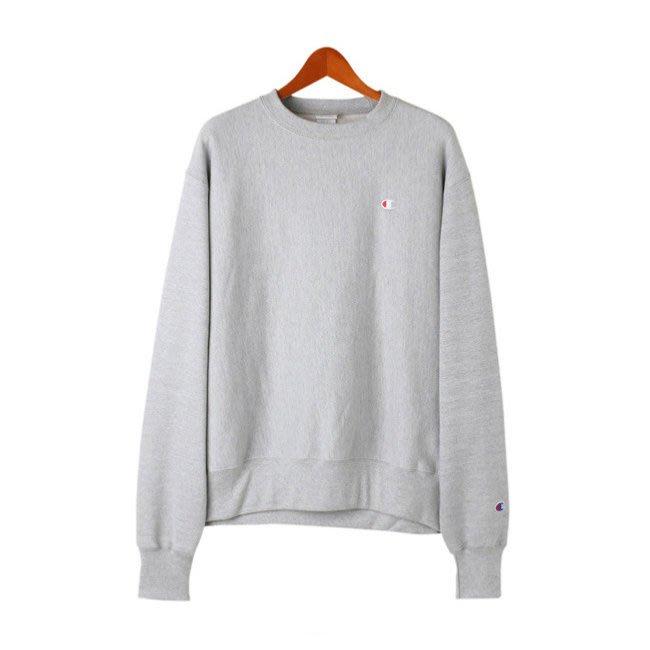 美國百分百【Champion】冠軍 T恤 長袖 T-shirt logo 素T 刷毛 上衣 大學T 灰色 M號 H424