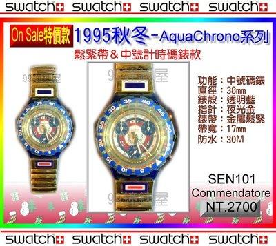 Swatch『On Sale特價』鬆緊帶款:1995秋冬AquaChrono 中號耐撞潛水200米系列(SEN101)