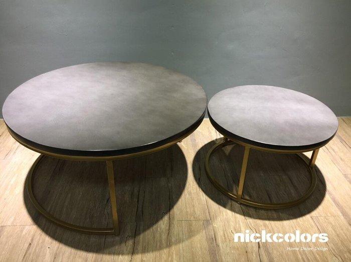 尼克卡樂斯 ~北歐風實木仿水泥台面圓形茶几 客廳茶几 矮桌 小餐桌 水泥桌 簡約風茶几