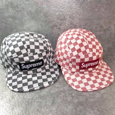【Faithful】SUPREME Checkerboard Camp Cap【SUP_HAT120】棋盤格 黑/紅